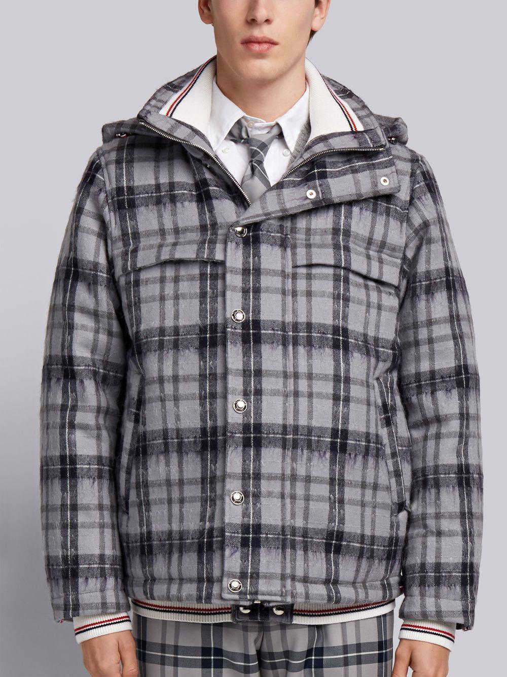 Thom Browne Tartan Down-filled Hairy Mohair Tech Jacket - Grey