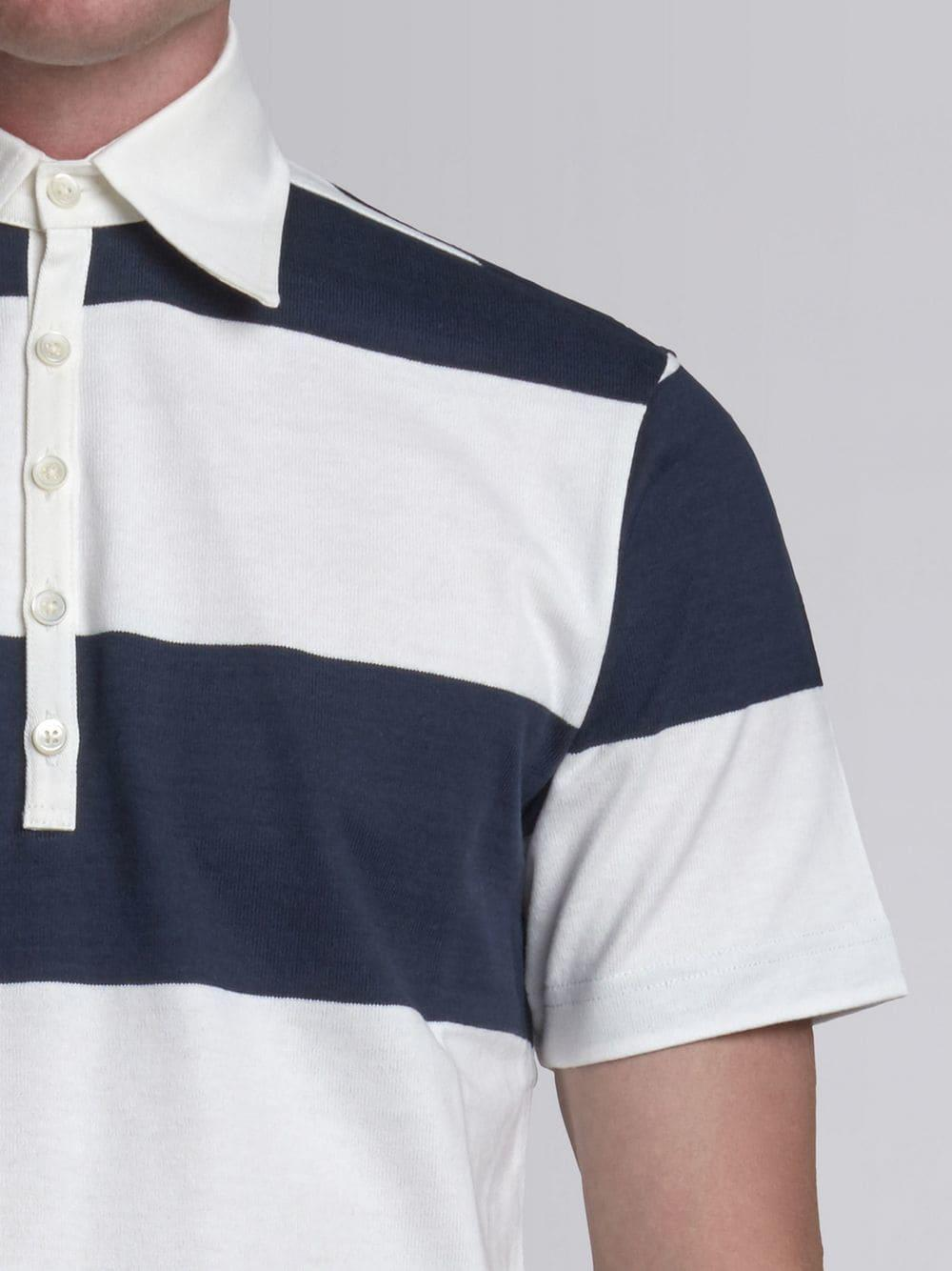 Thom Browne Short Sleeve Polo With 4-bar Stripe In Blue And White Rugby Stripe