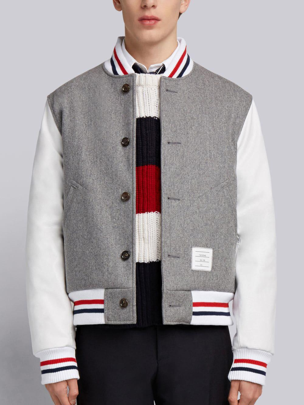 Thom Browne Button Front Melton Wool Varsity Jacket - Grey