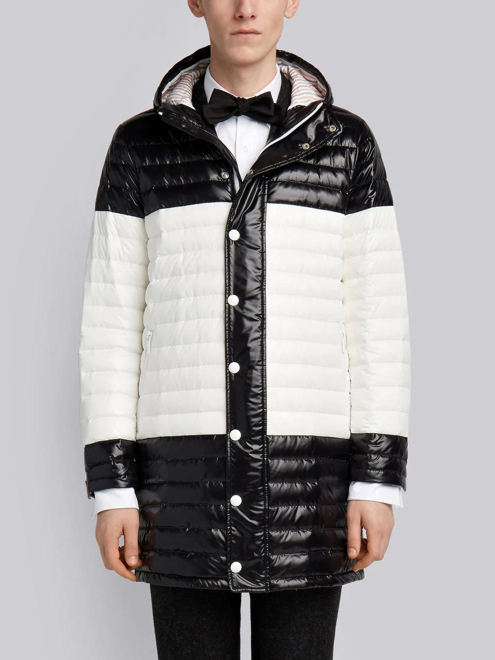 Thom Browne Bicolor Quilted Down Satin Tech Coat In Black