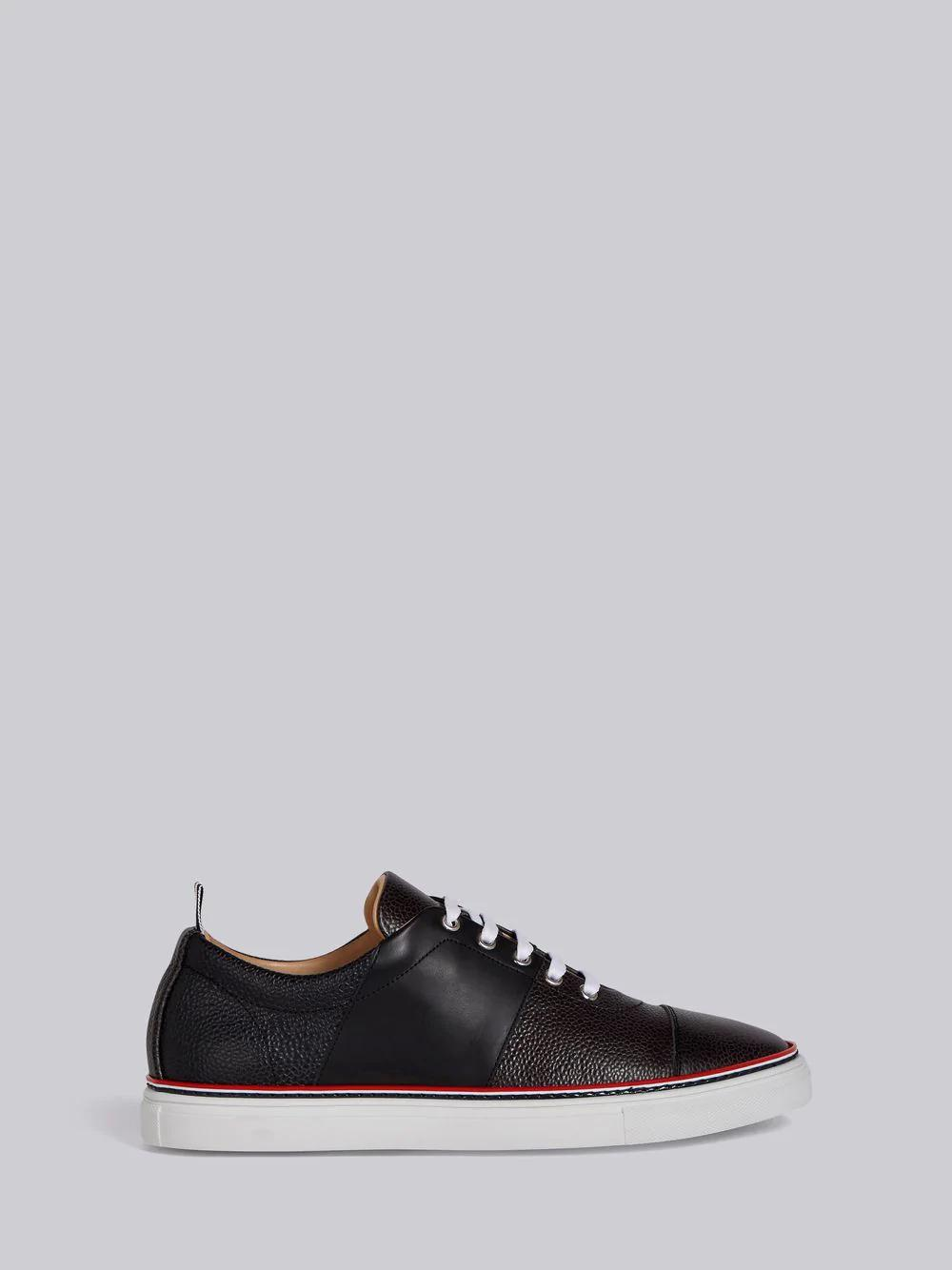 Thom Browne Color-Block Pebble Grain Trainer - Grey