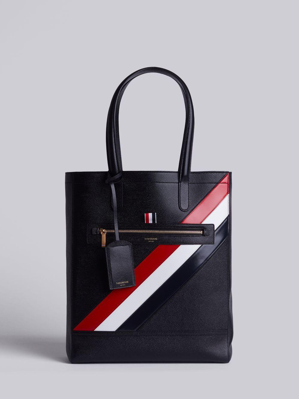 Thom Browne Tote In Black Pebble Grain Red, White And Blue Diagonal Stripe In Calf Leather