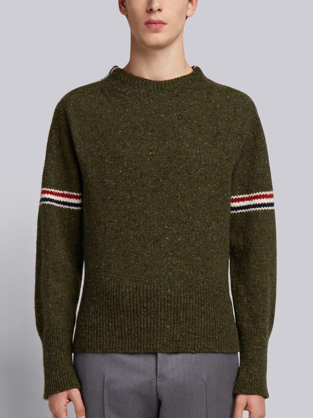 Thom Browne Rwb Intarsia Armband Tweed Pullover In Green