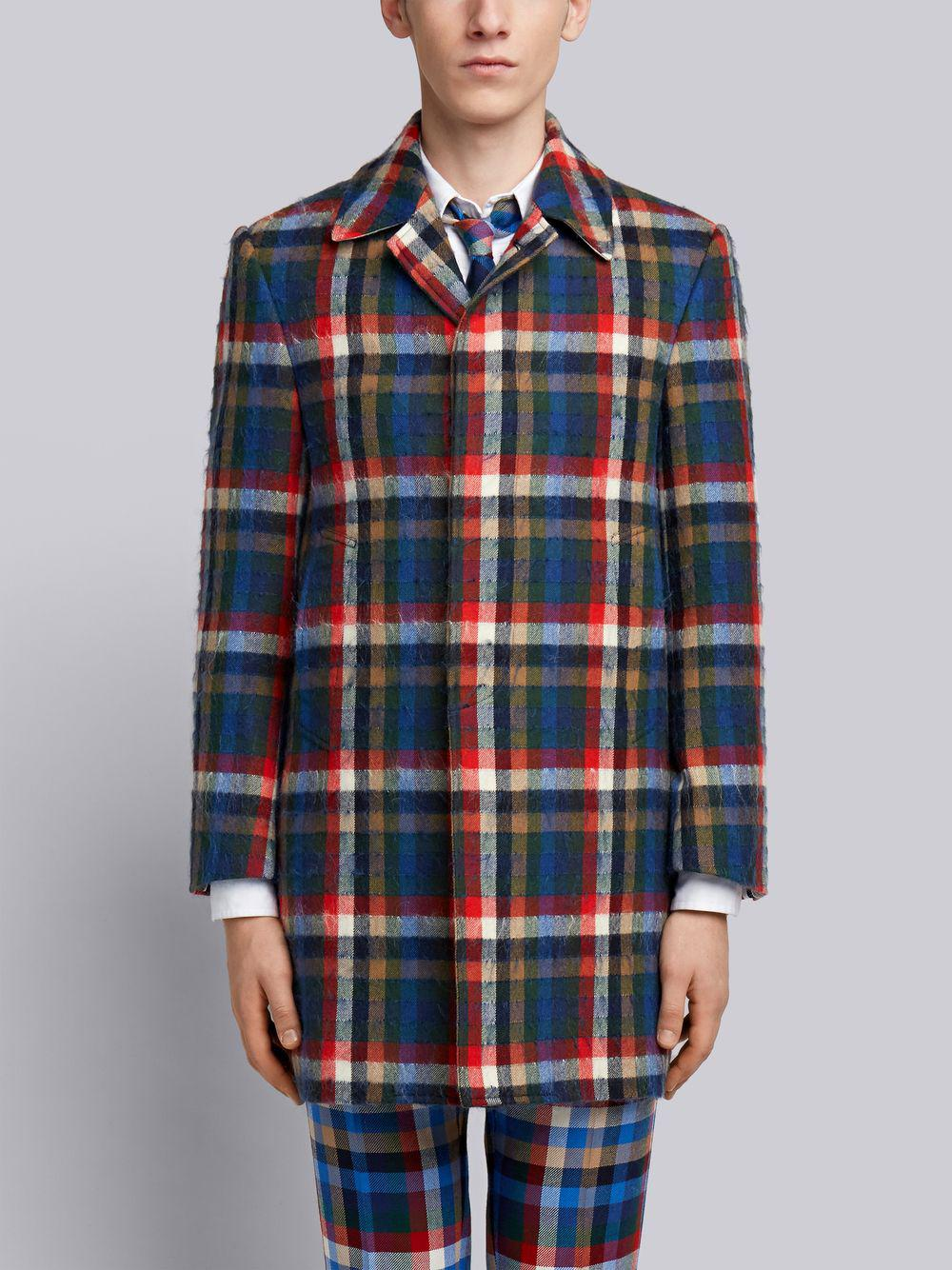 Thom Browne Gingham Tartan Classic Bal Collar Hair Mohair Overcoat - Multicolour