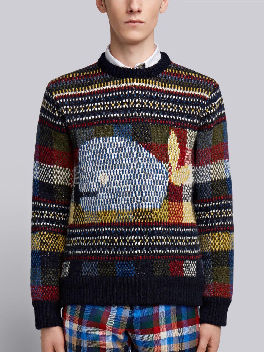 Thom Browne Whale Fair Isle Tweed Pullover - Blue