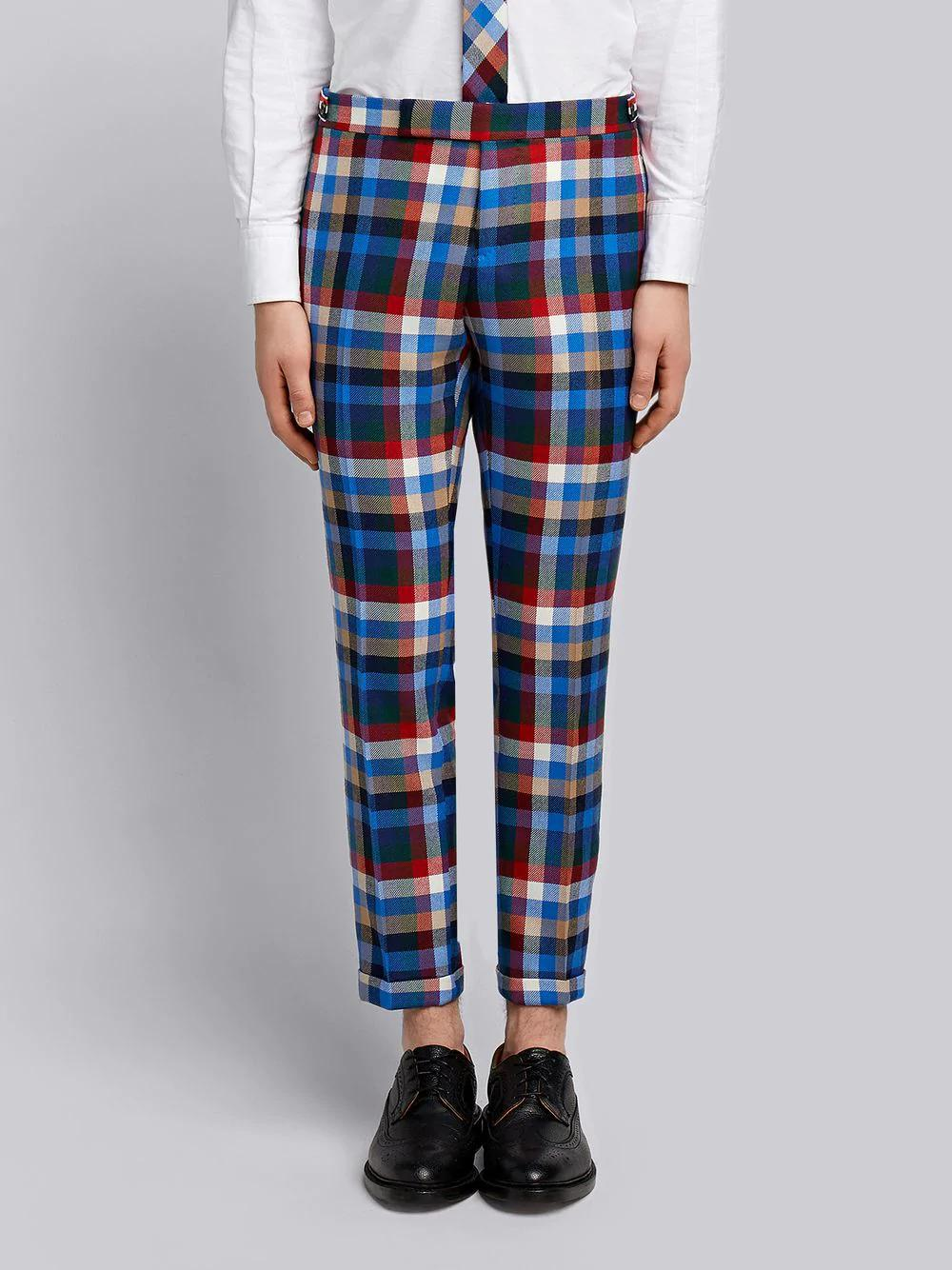 Thom Browne Gingham Tartan Twill Skinny Trousers In Multicolour