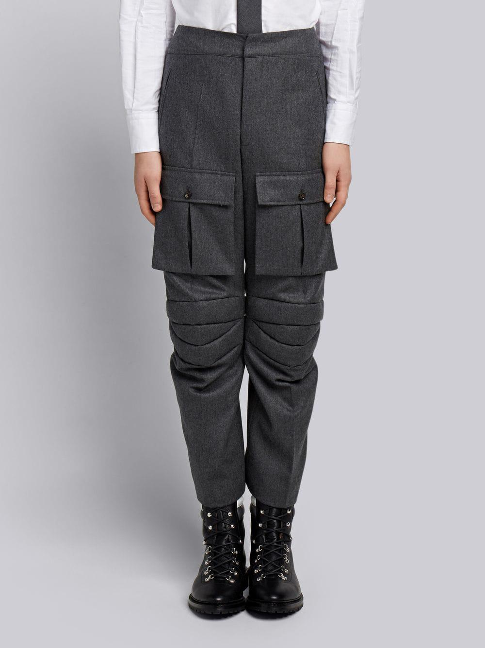 Thom Browne Articulated Solid Wool Flannel Trouser - Grey