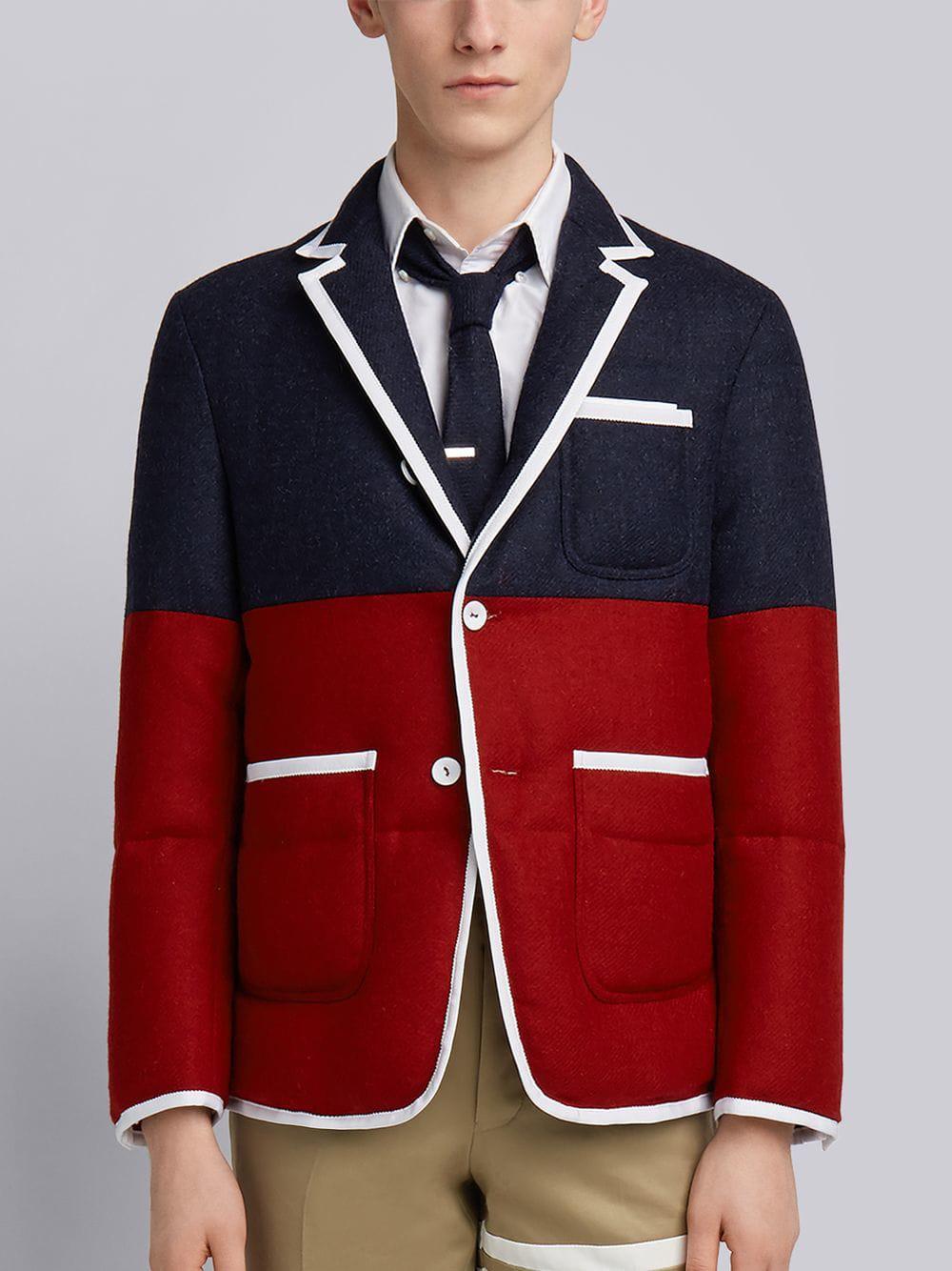 Thom Browne Bicolor Quilted Sack Sport Coat - Blue