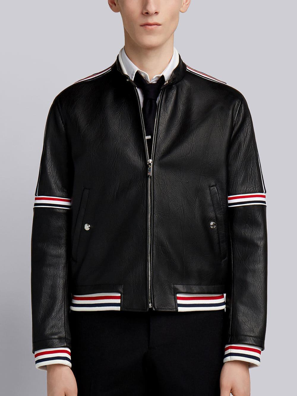 Thom Browne Men's Buffalo Leather Cropped Jacket In Black