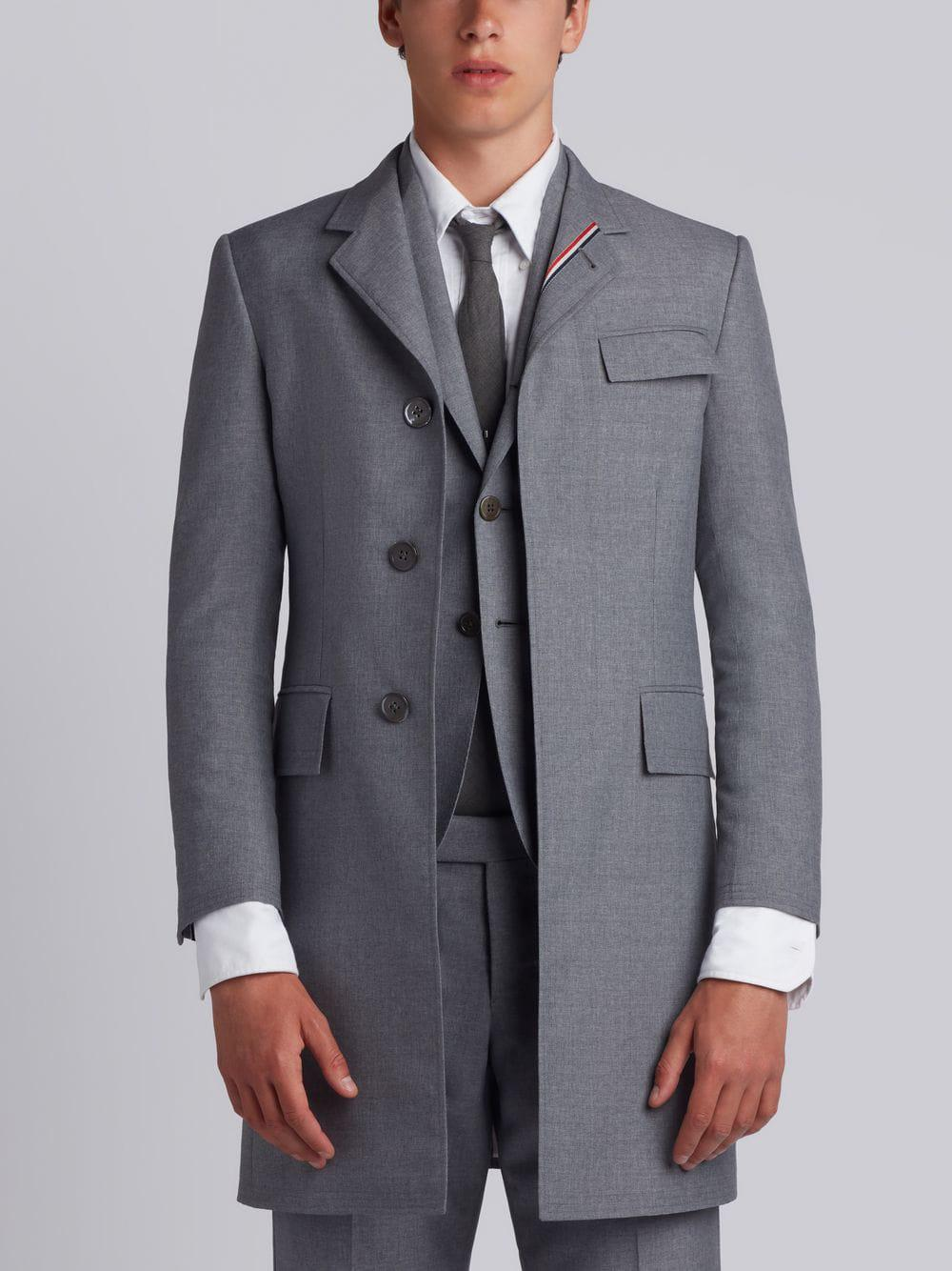 Thom Browne High Armhole Chesterfield With Red, White And Blue Selvedge Placement In School Uniform  In Grey