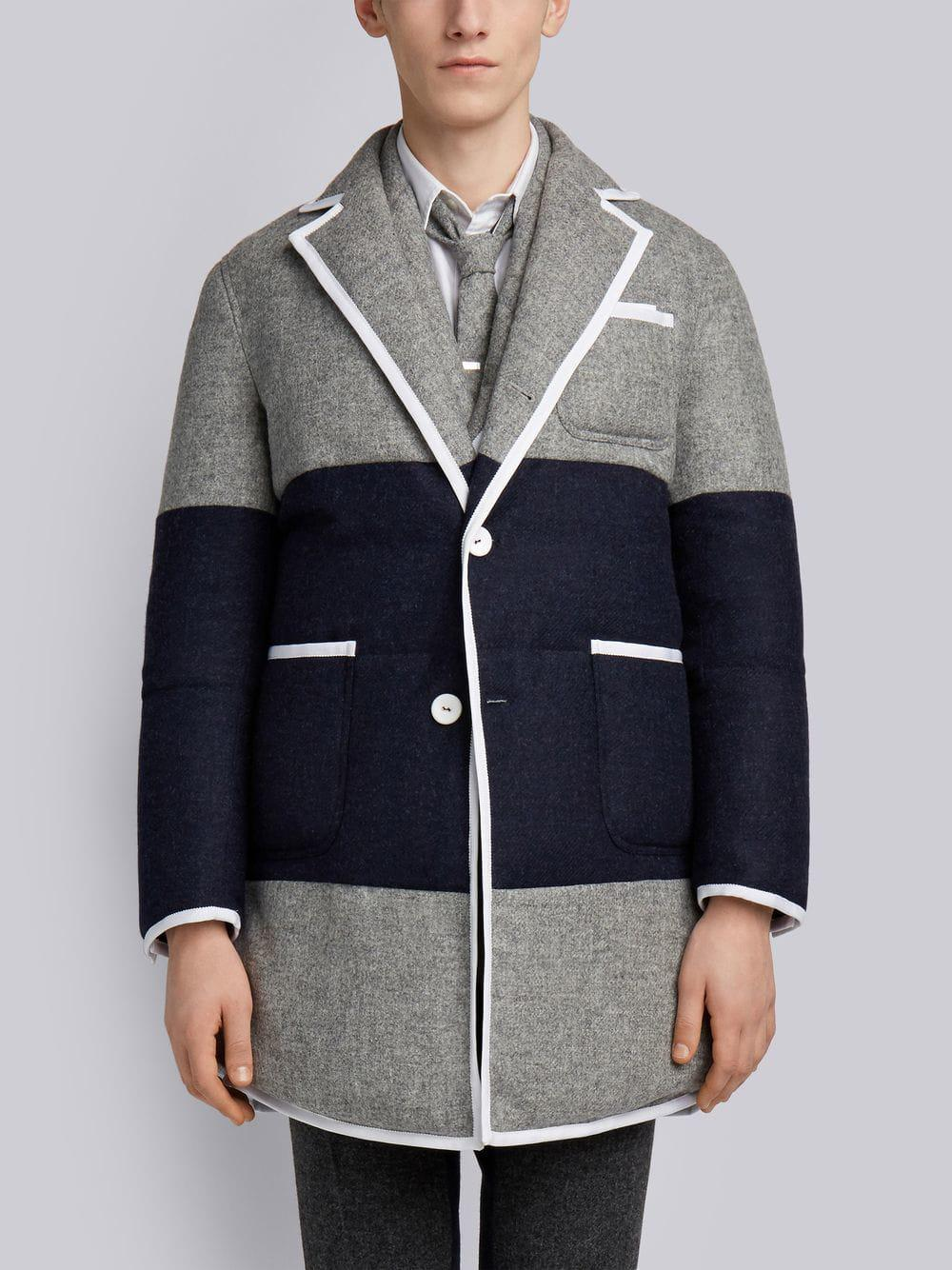 Thom Browne Zweifarbiger Mantel In 055 Light Grey