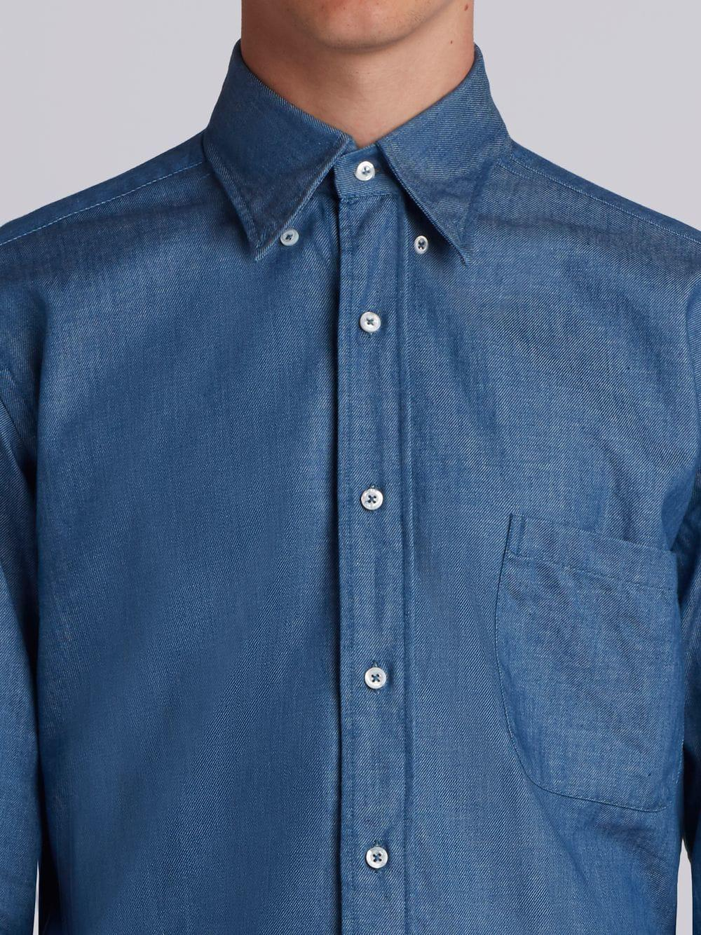 Thom Browne Regular Fit Long Sleeve Shirt In Shirting Denim In Blue