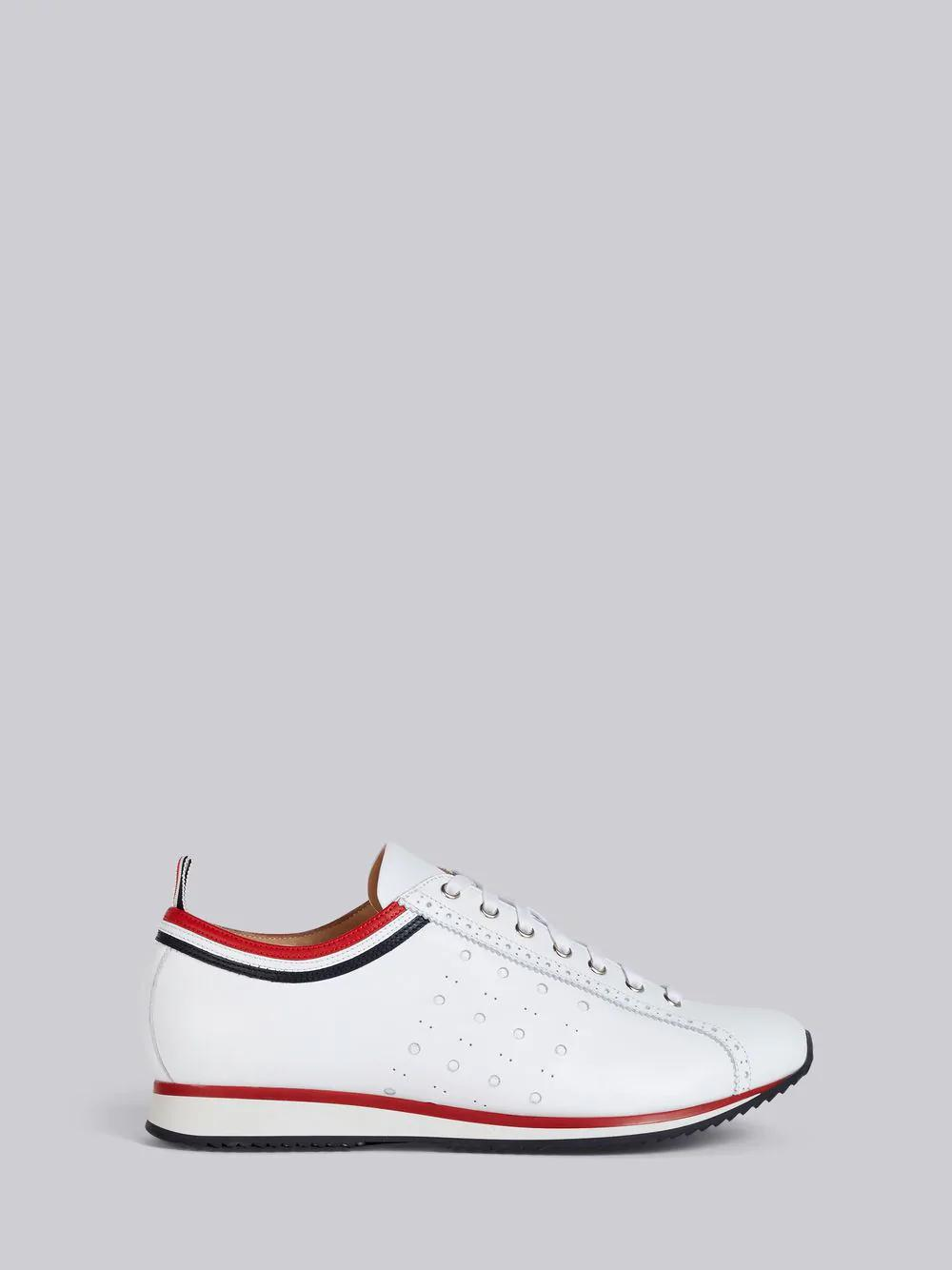 Thom Browne White Rugby Running Shoes Sneakers In 100 White