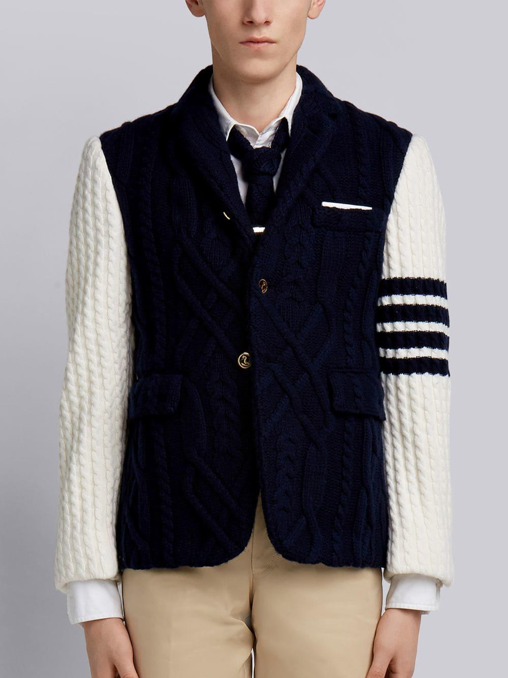 Thom Browne 4-Bar Knit Sleeve Sport Coat - Blue