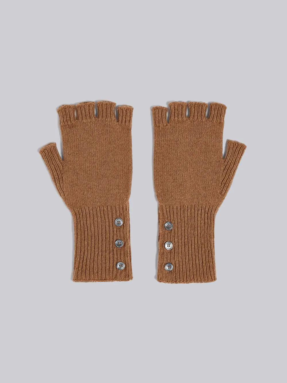 Thom Browne Fingerless Gloves In Camel Hair - Neutrals