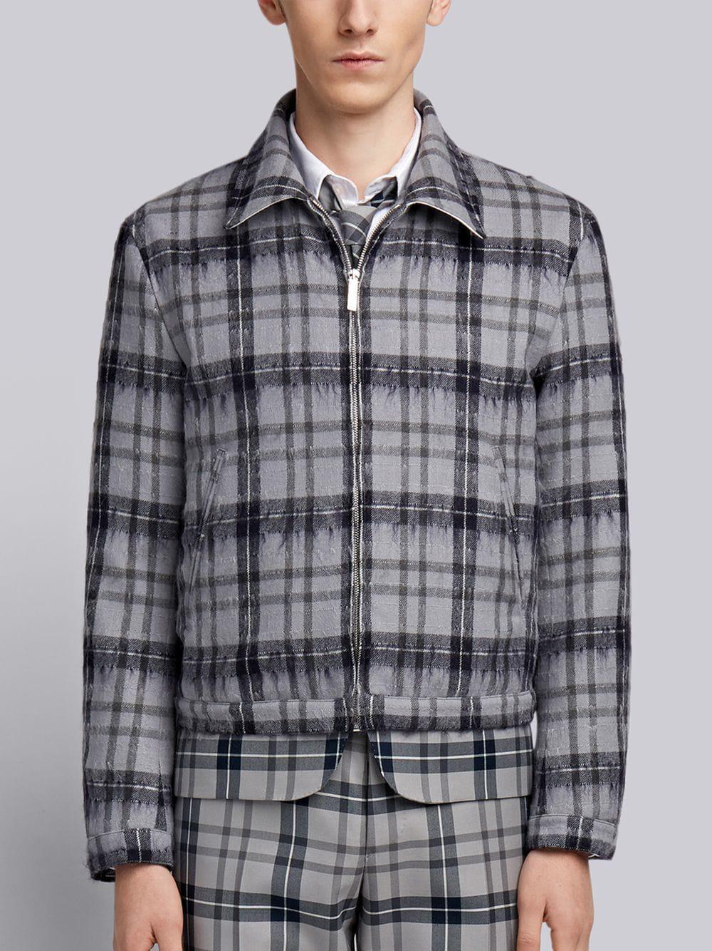 Thom Browne Tartan Elastic Hem Hairy Mohair Golf Jacket In Grey