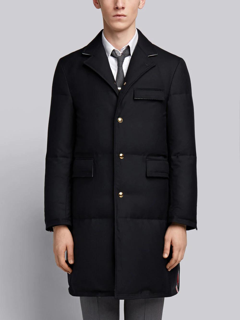 Thom Browne Center-back Engineered Stripe Down-filled Classic Chesterfield Overcoat - Blue