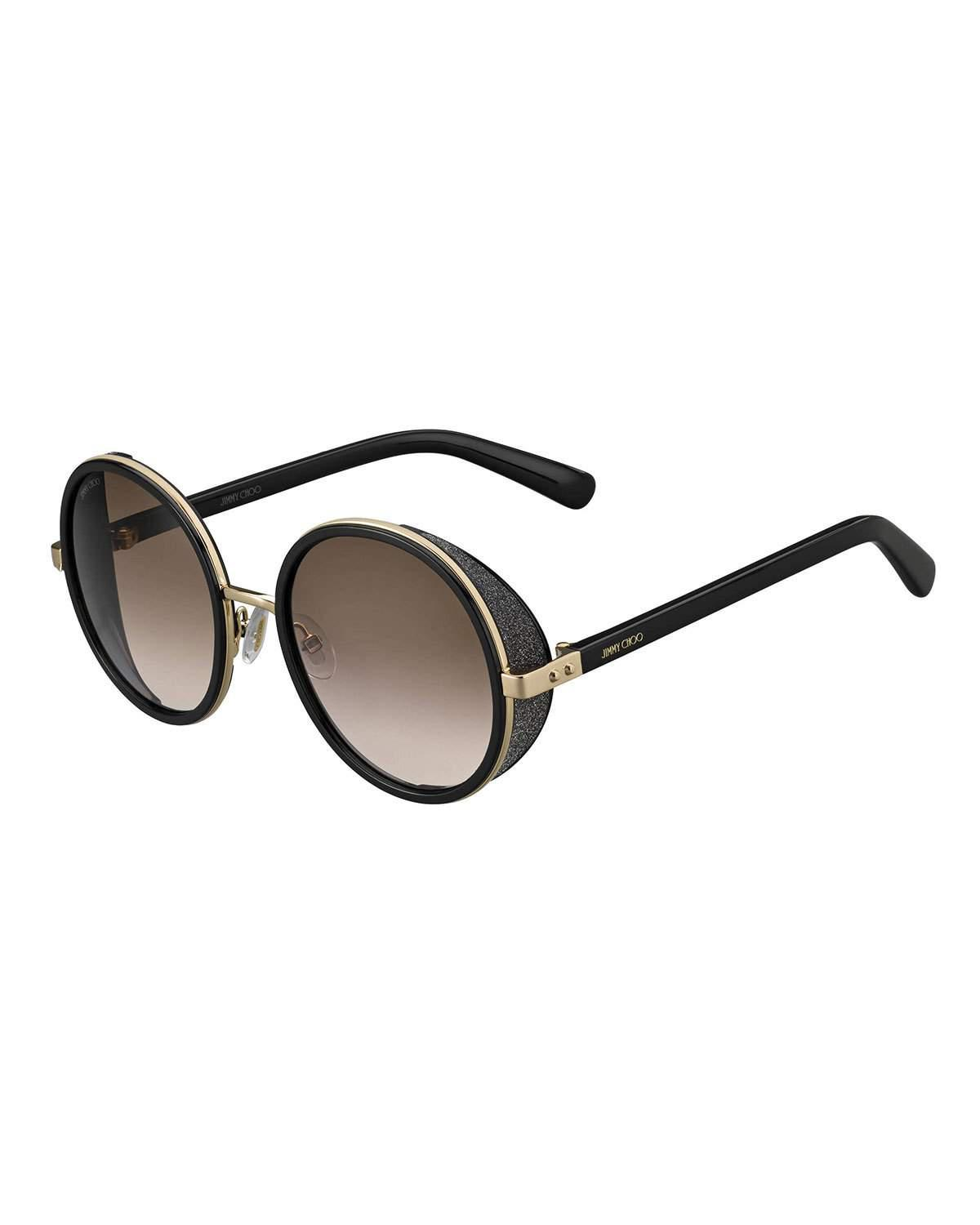 0cbfe6656d89 Jimmy Choo Andie Havana Brown Acetate Round Framed Sunglasses With Gold  Silver Crystal Fabric Detailing In