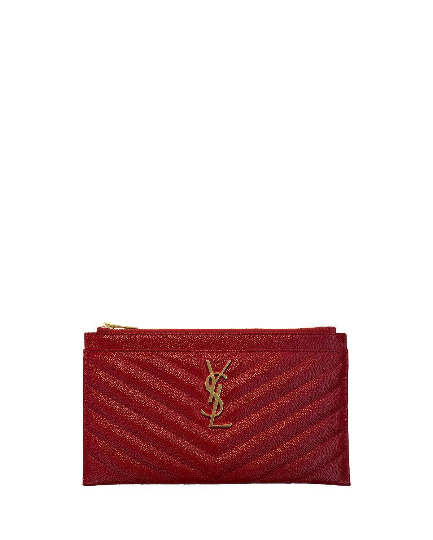 b841353ca52 Saint Laurent Monogram Ysl Matte Quilted Bill Pouch Wallet In Bandana Red