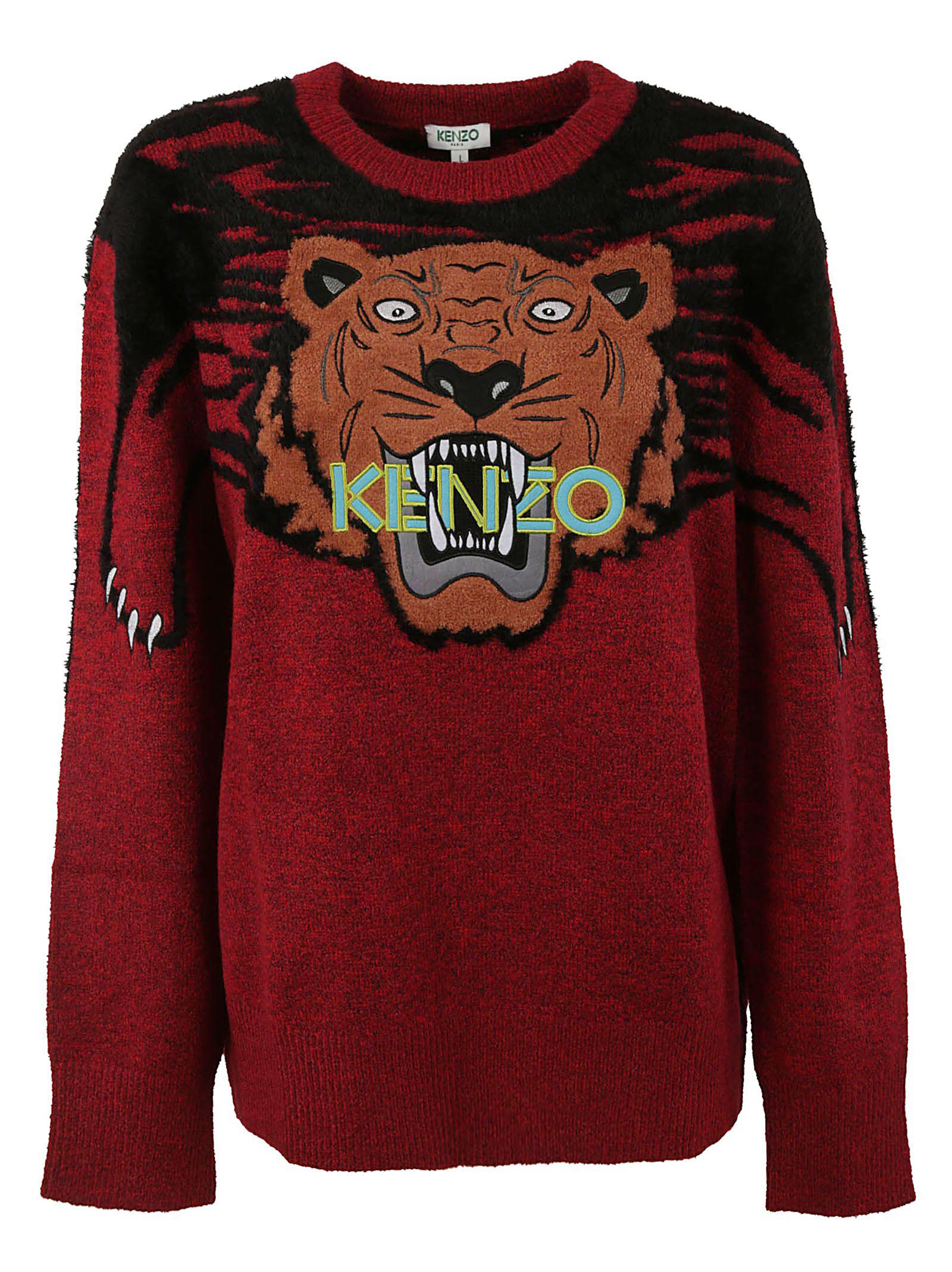 526496084a Kenzo Womens Medium Red Stripe Claw Tiger Knitted Jumper | ModeSens