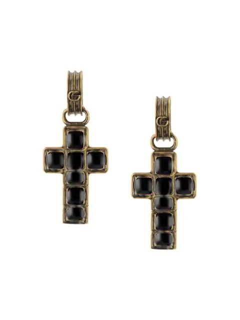 Gucci Earrings With Cross Pendant In 8029 Black/Gold