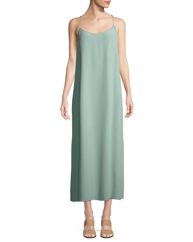 b86287b0865d Eileen Fisher Tencel Crepe Side-Slit Slip Dress, Regular & Petite In Elm