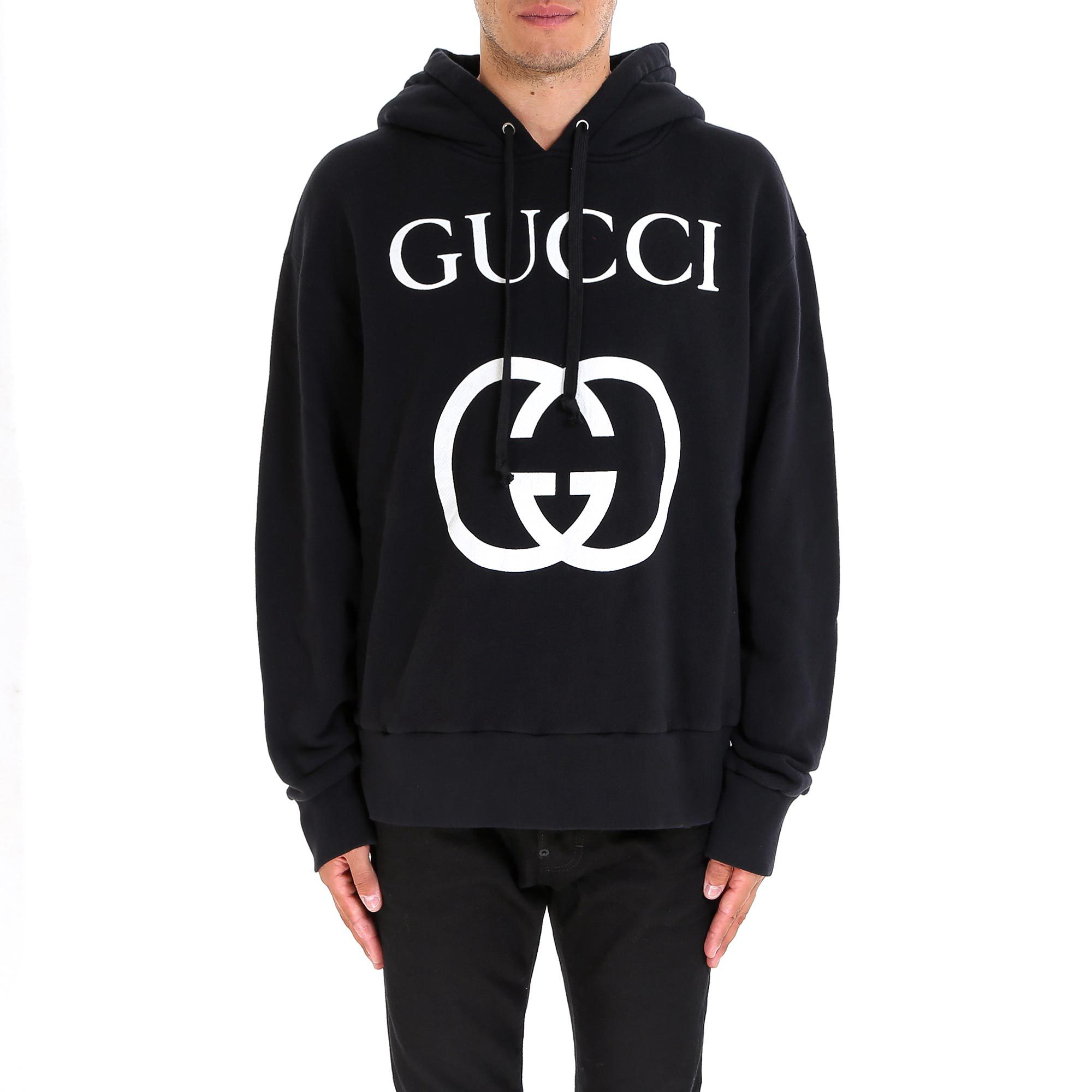 4e2aaacb53d Gucci Logo-Print Loopback Cotton-Jersey Hoodie - Black. CETTIRE