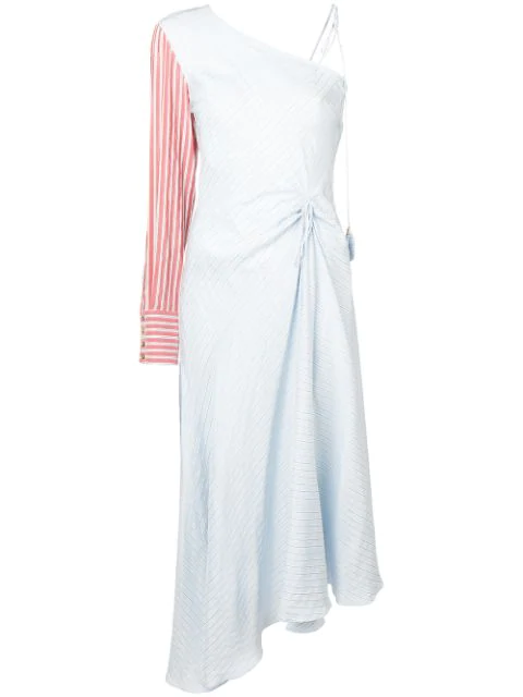 Anna October Striped One Shoulder Dress - Blue