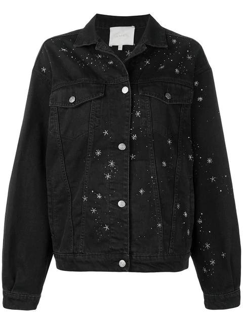 Amen Bead Embroidered Denim Jacket In Black