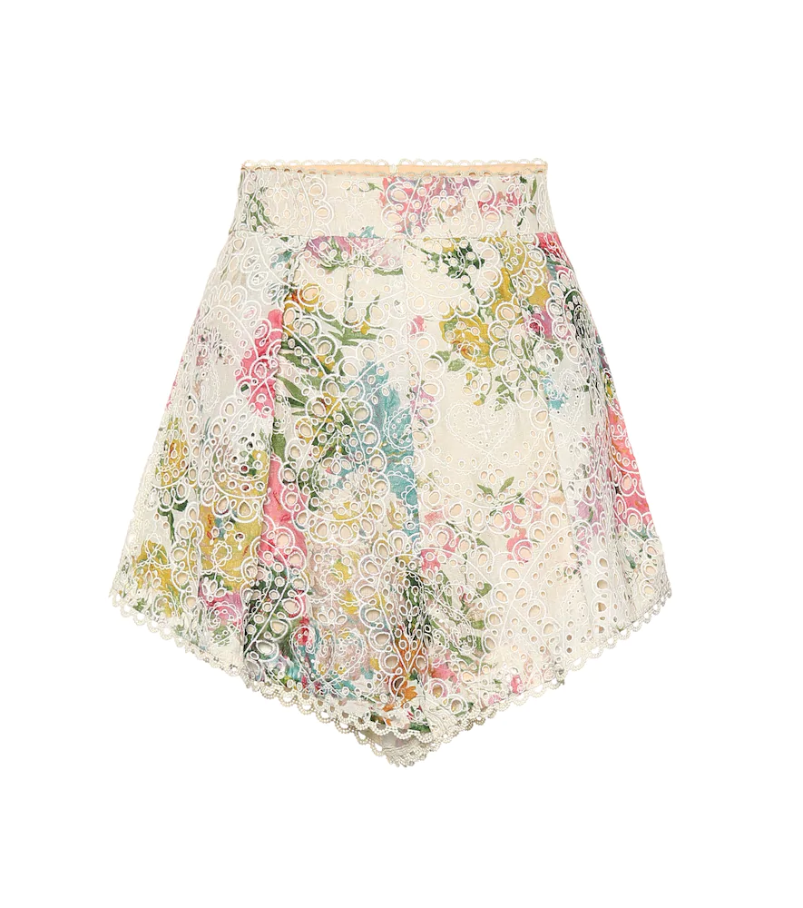 Zimmermann Heathers 花卉印花马德拉刺绣纯棉短裤 In White