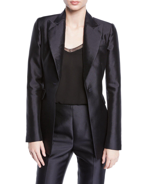 Gabriela Hearst Serge Silk-wool Pearl-embellished Blazer In Navy
