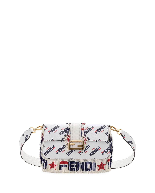 0c5425ba407 Baguette Fendi Mania Beaded Fringe Shoulder Bag. Fendi shoulder bag in  pebbled, logo-printed leather.