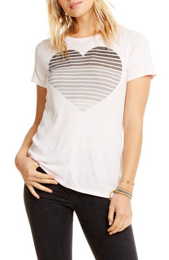 9a2fb474f Chaser Striped Heart Graphic Tee In Light Pink | ModeSens