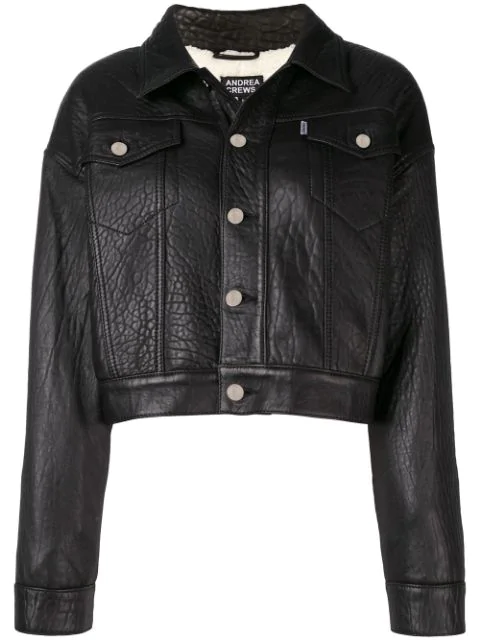 Andrea Crews Cropped Leather Jacket - Black