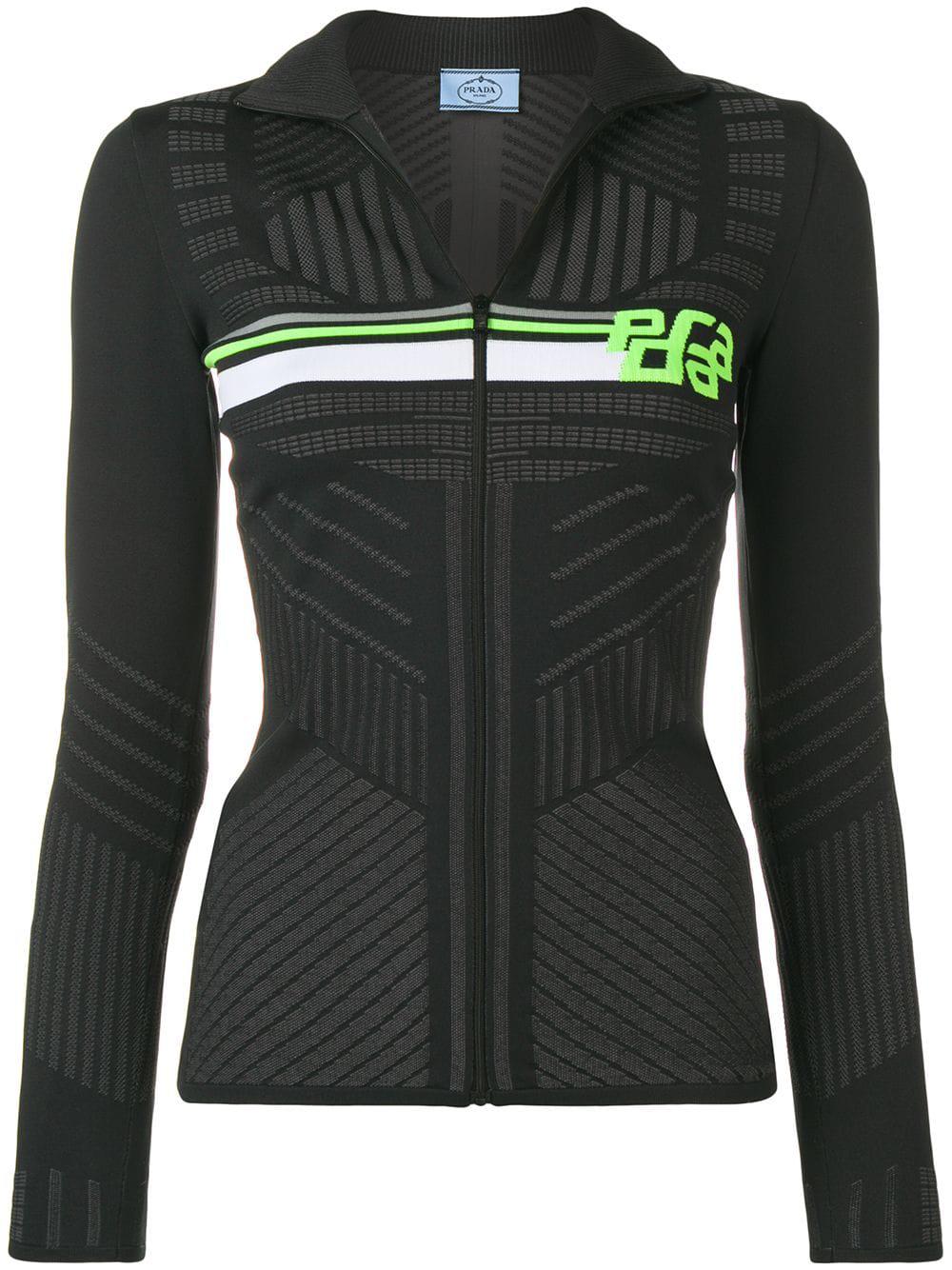 088e7113bed3 Prada Logo Intarsia Stretch Zip-Up Sweater In Black