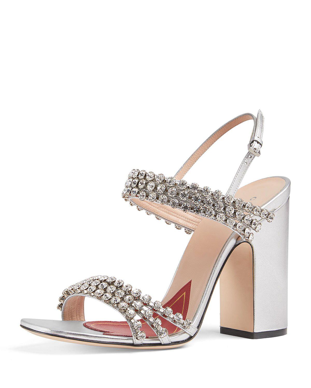 71932b6607d74 Gucci Crystal-Embellished Leather Slingback Sandals - Silver