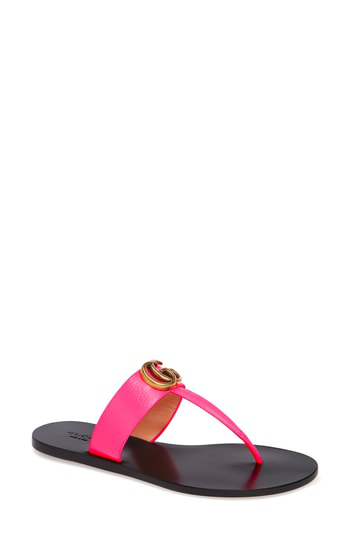 454a39b6488e Gucci Flat Neon Leather Thong Sandals
