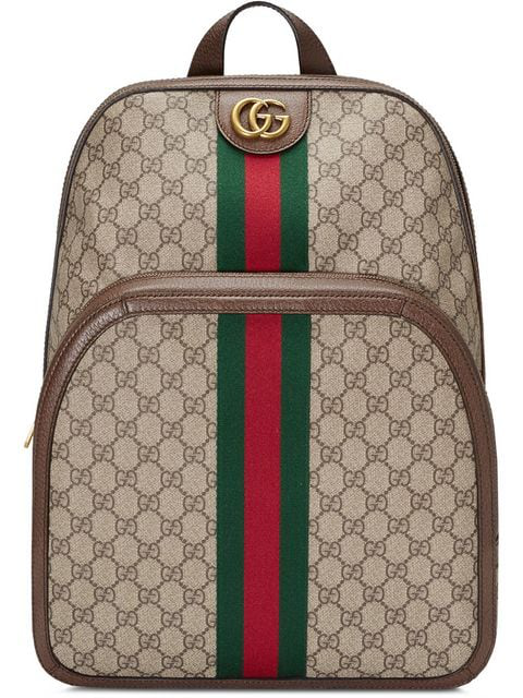 Gucci Leather And Webbing-trimmed Monogrammed Coated-canvas Backpack In Brown