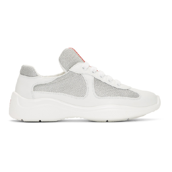 Prada White, Grey And Red America's Cup Leather And Mesh Sneakers In F0j36