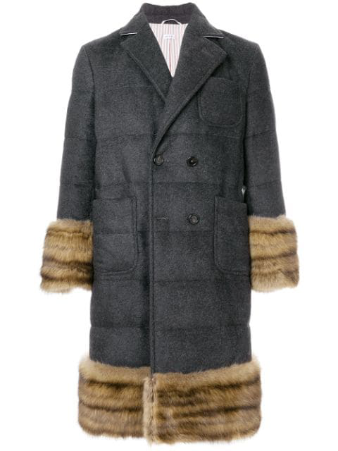 Thom Browne Striped Down Fill Cashmere Overcoat - Grey