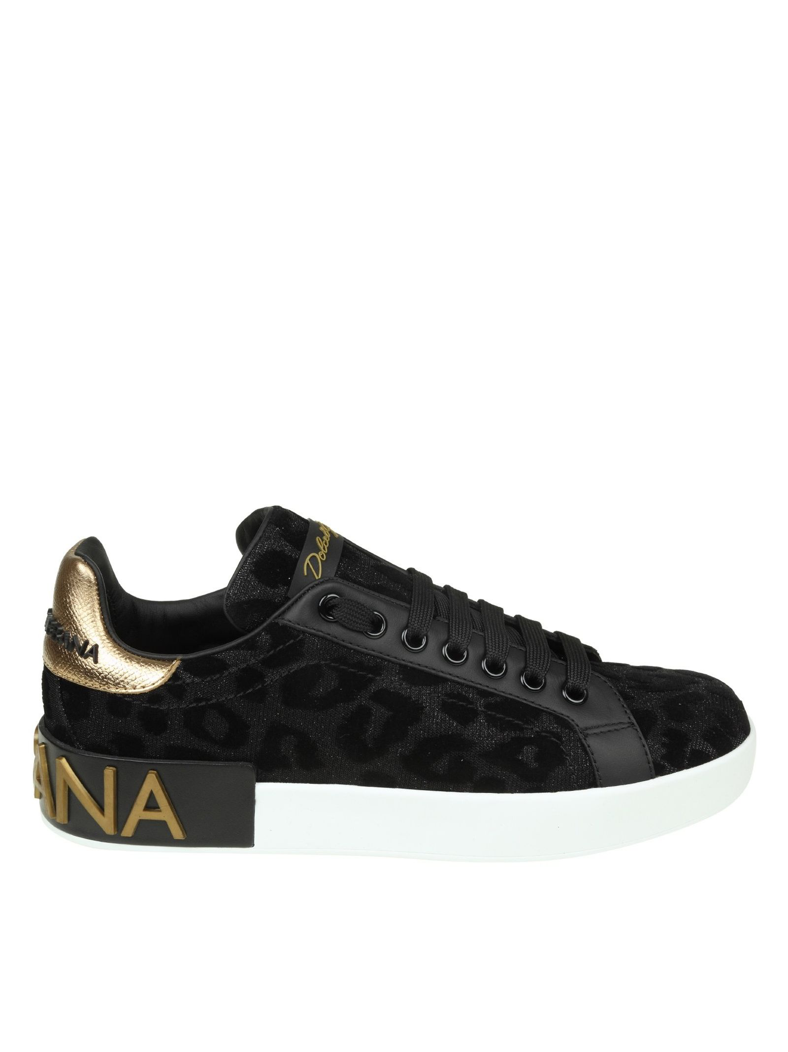 ad6b39d716b2 Dolce & Gabbana Portofino Sneakers In Fabric Lurex Effect Black With V In  8B956 Black/