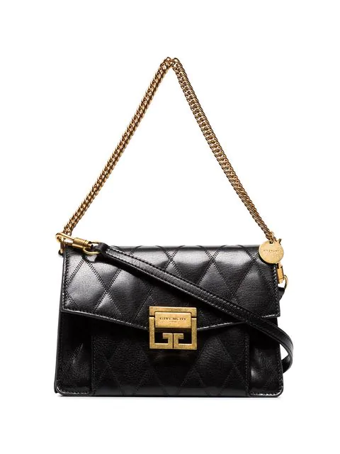 Givenchy Small Gv3 Diamond Quilted Leather Crossbody Bag In 001 Black