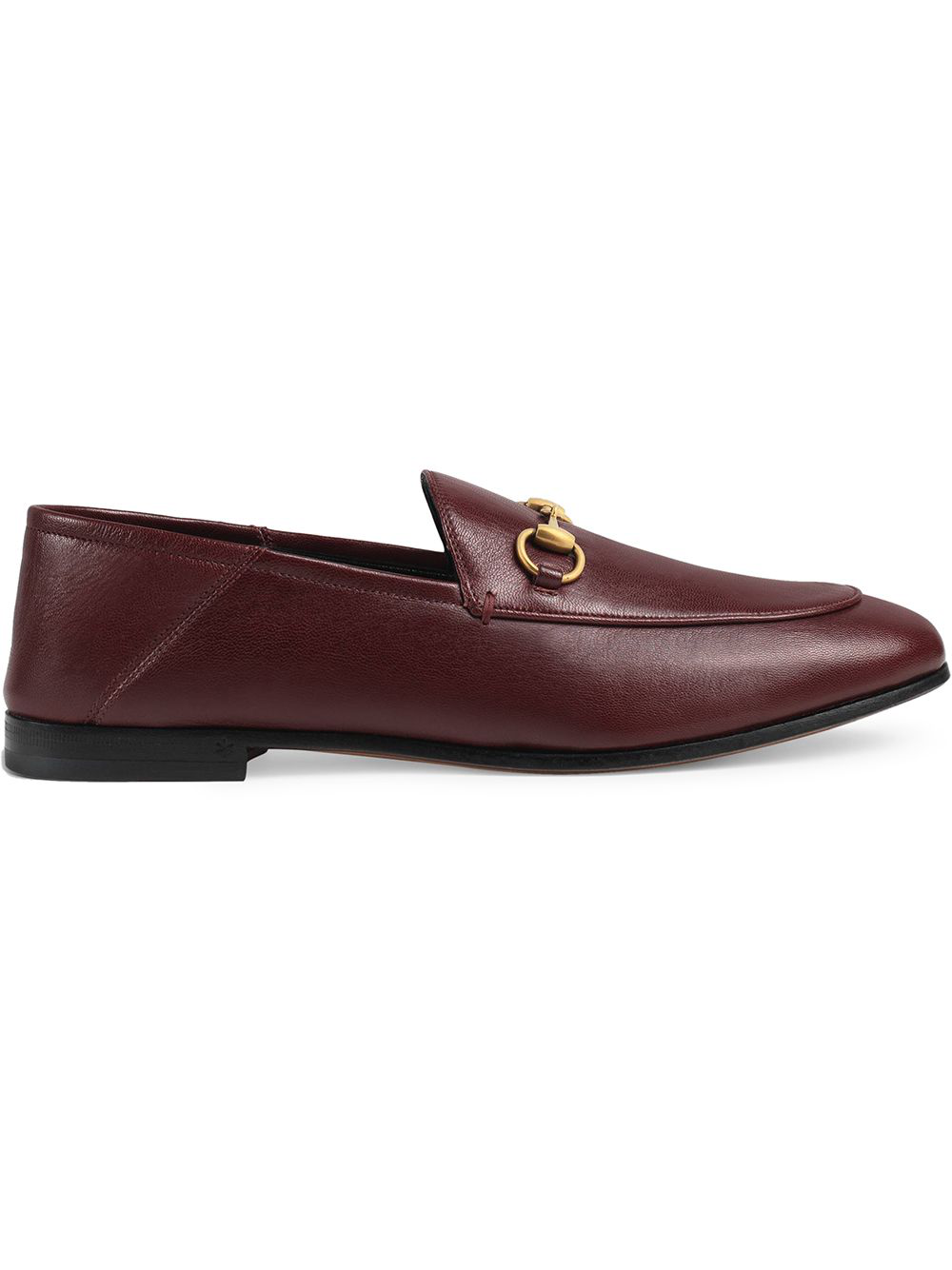c69e0c74a53 Gucci Brixton Horsebit-Detailed Leather Collapsible-Heel Loafers In Burgundy