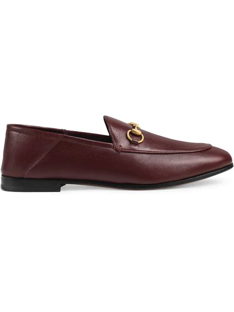 Gucci Jordaan Horsebit-detailed Leather Loafers In Red