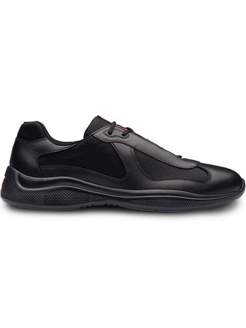 Prada Men's Shoes Leather Trainers Sneakers America S Cup In Black