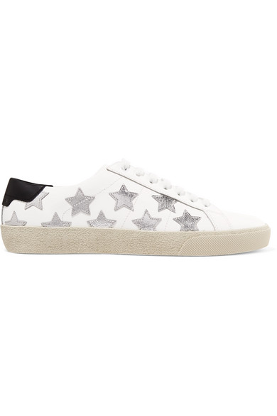 Saint Laurent Court Classic Sl/06 Metallic California Sneakers In Leather In White