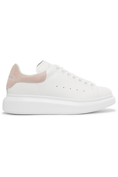 Alexander Mcqueen Suede-Trimmed Leather Exaggerated-Sole Sneakers In 9182 - W/Pa