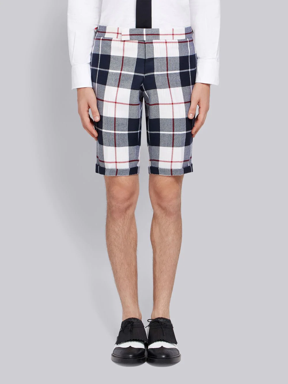 Thom Browne Buffalo Tartan Skinny Wool Short - Blue