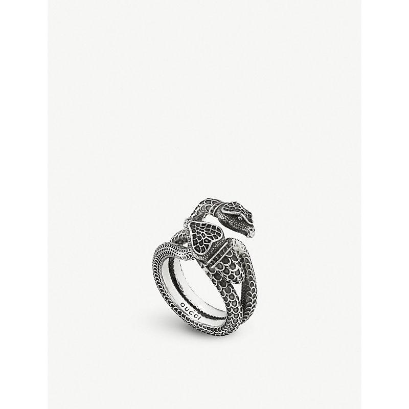 eccde760e Gucci Garden Snake Sterling Silver Ring | ModeSens