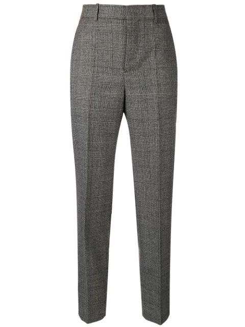 Balenciaga Check Print Wool Trousers - Black